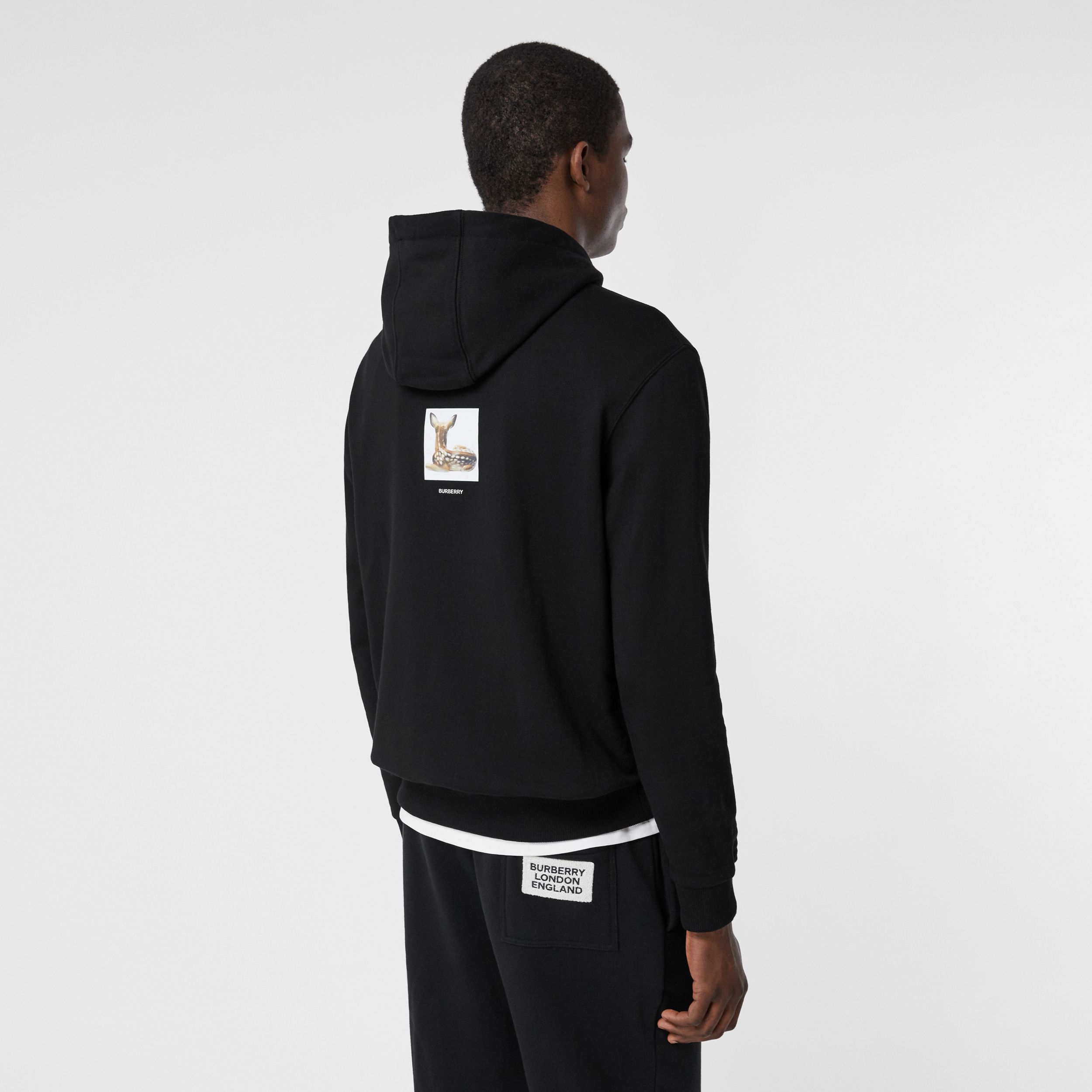 Deer Print Cotton Hoodie in Black - Men | Burberry United Kingdom - 3