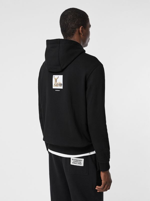 Deer Print Cotton Hoodie in Black - Men | Burberry Canada - cell image 2