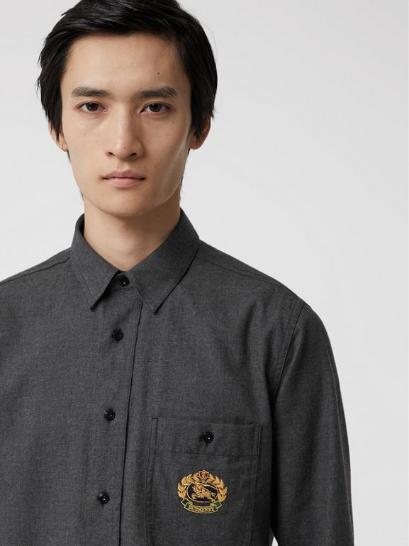 Embroidered Crest Flannel Shirt in Charcoal Melange - Men | Burberry Australia - cell image 1