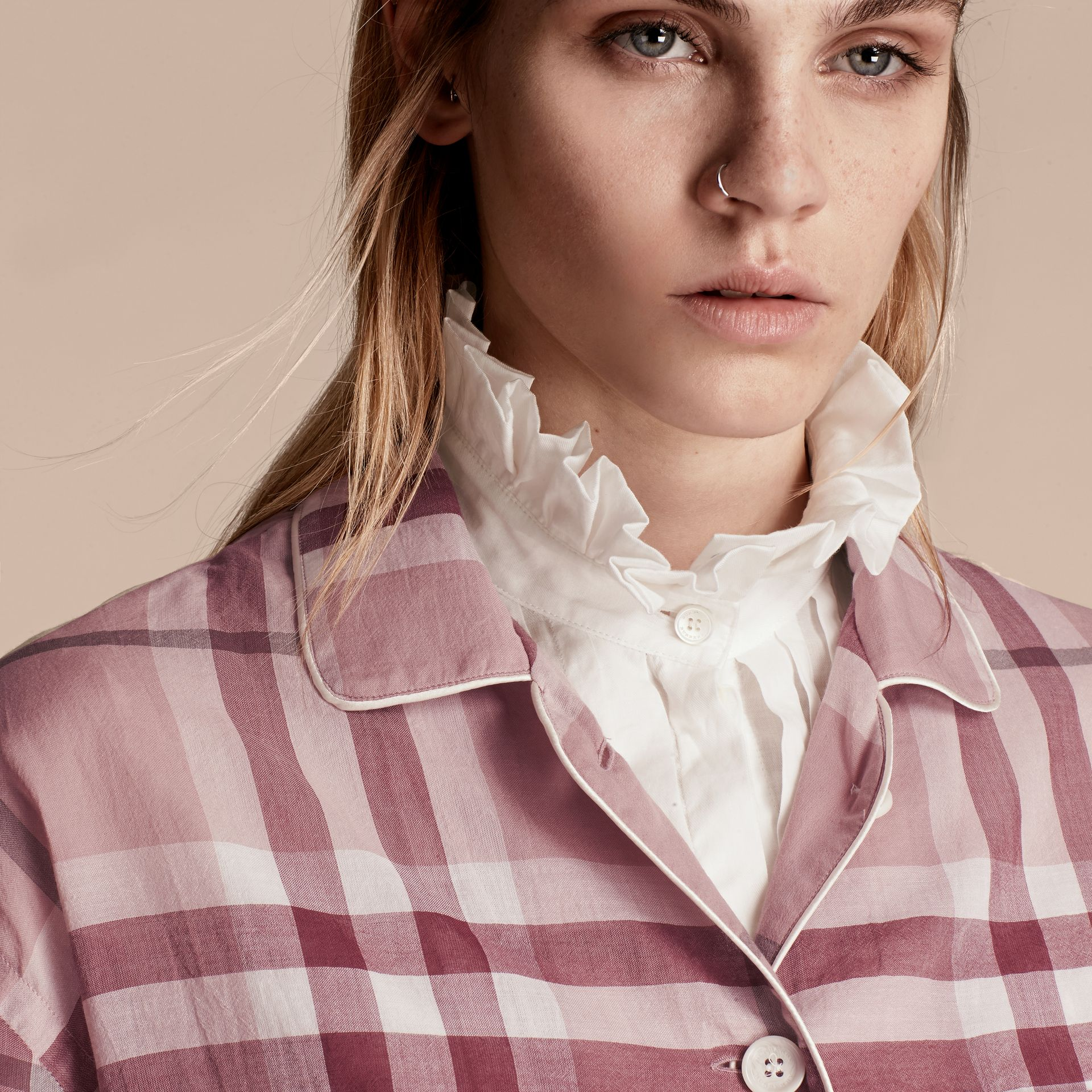 Antique pink Check Cotton Pyjama-style Shirt Antique Pink - gallery image 5