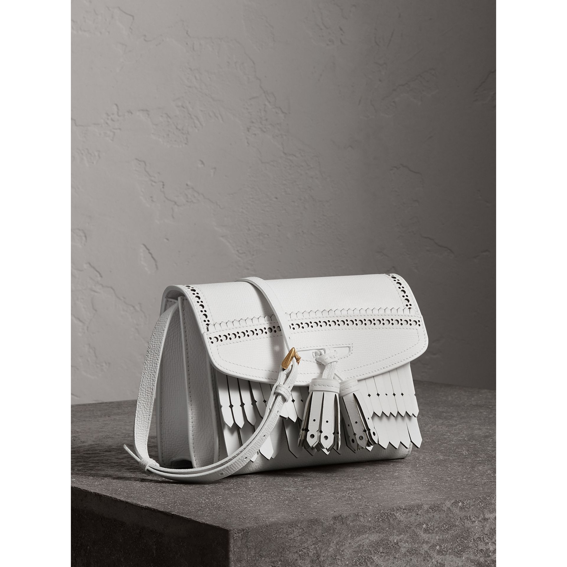 Brogue and Fringe Detail Leather Crossbody Bag in Chalk White - Women | Burberry - gallery image 5
