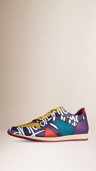 The Field Sneaker in Book Cover Print Leather Regency Purple