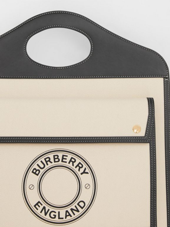 Medium Logo Graphic Canvas and Leather Pocket Bag in Black/white - Women | Burberry Canada - cell image 1