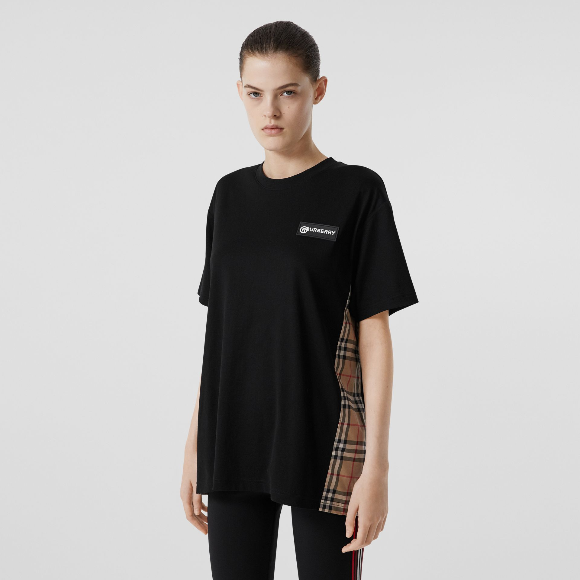 Vintage Check Panel Cotton Oversized T-shirt in Black - Women | Burberry United Kingdom - gallery image 4