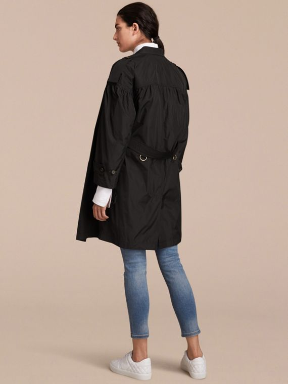 Lightweight Ruched Coat in Black - Women | Burberry - cell image 2
