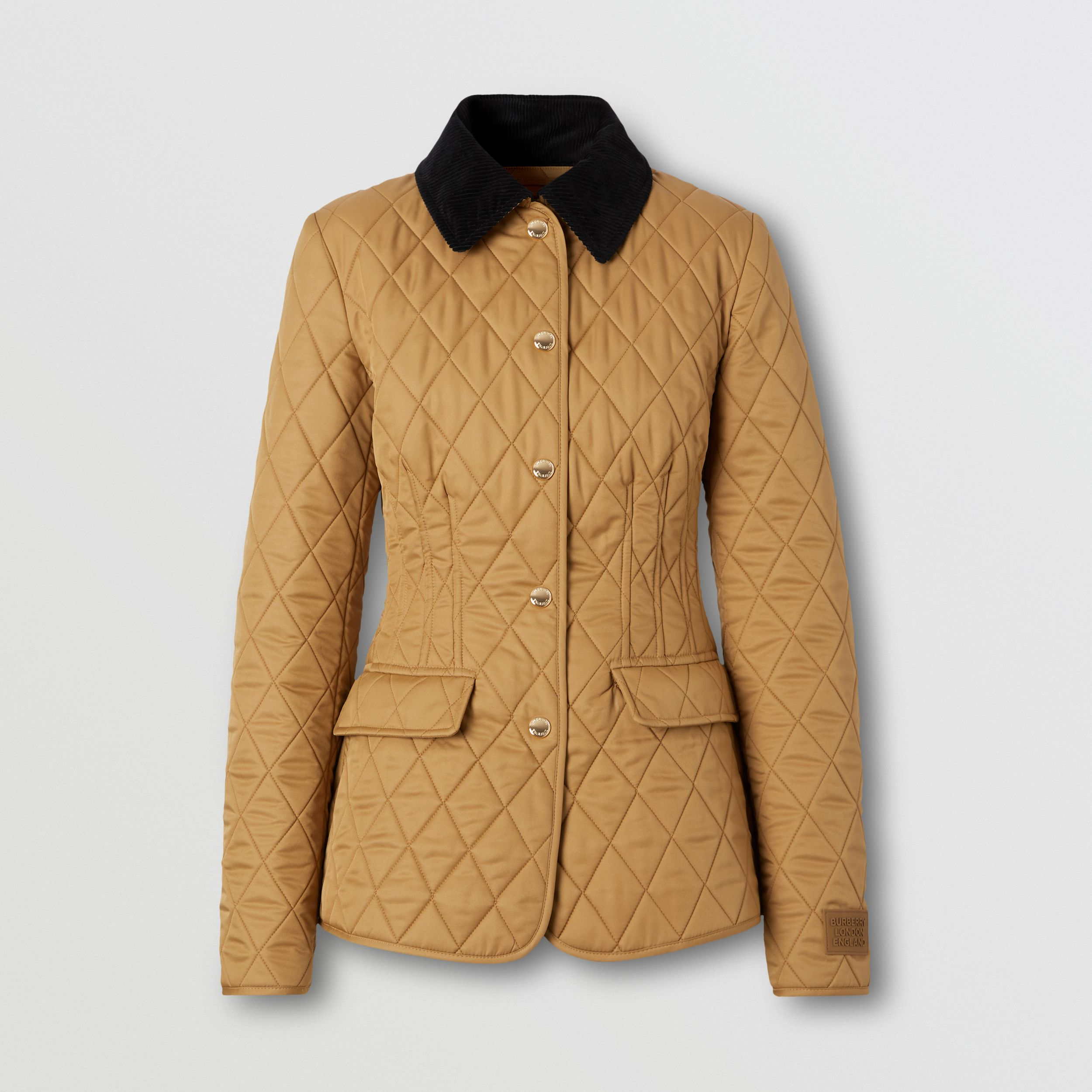 Corduroy Collar Diamond Quilted Barn Jacket in Camel - Women | Burberry Hong Kong S.A.R. - 4