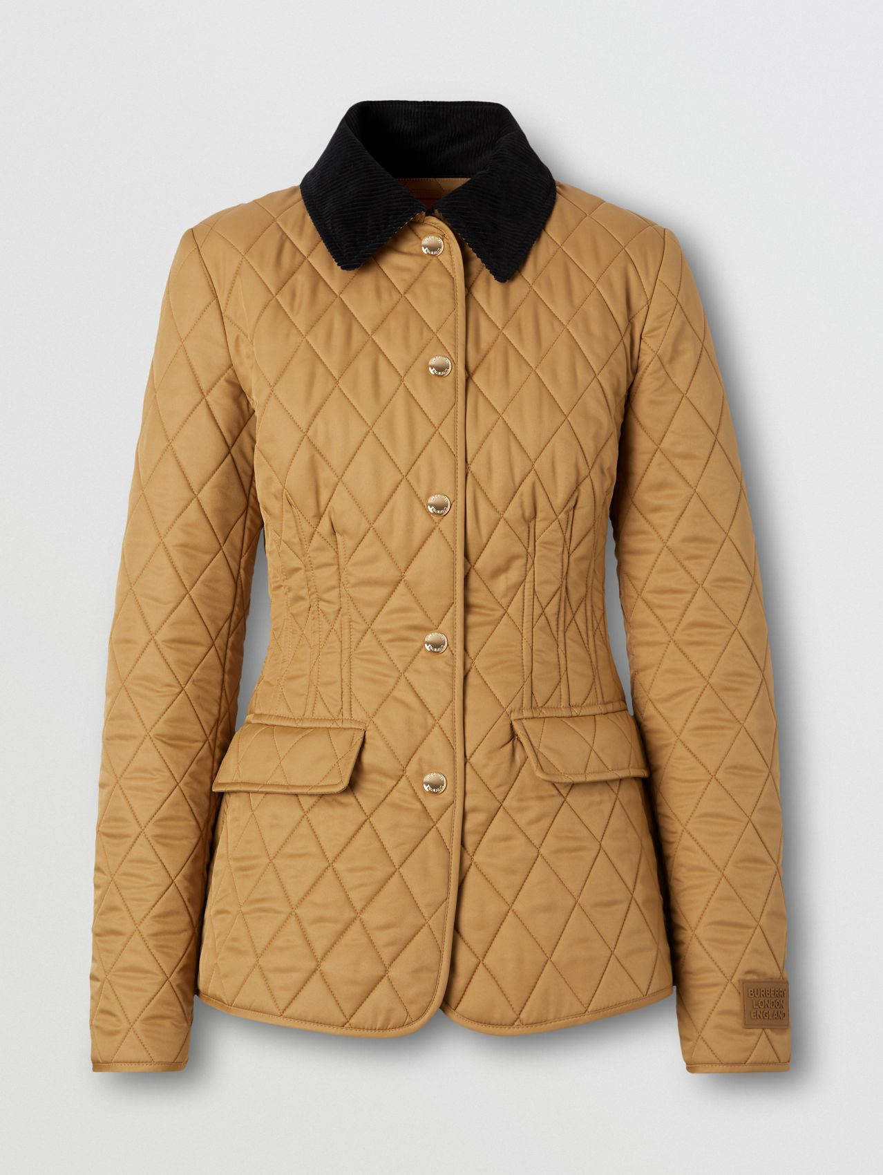 Corduroy Collar Diamond Quilted Barn Jacket in Camel