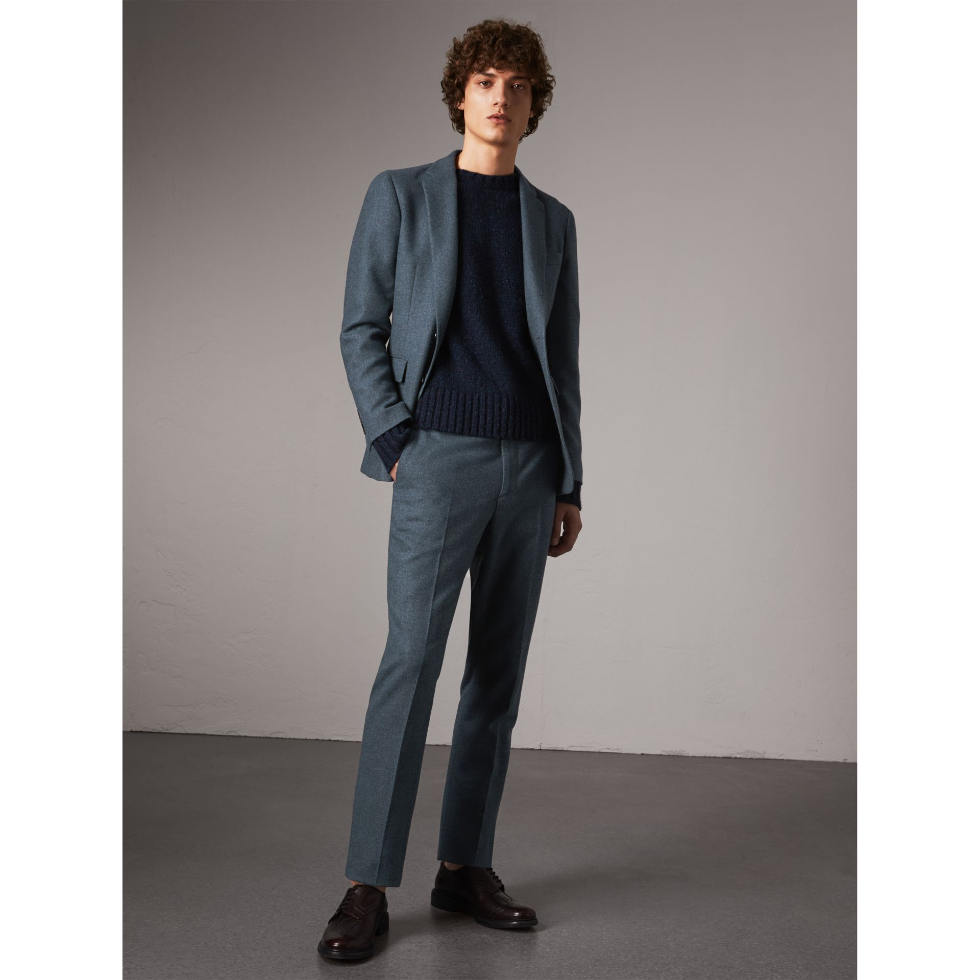 Soho Fit Wool Trousers in Dark Airforce Blue - Men | Burberry Australia - gallery image 1