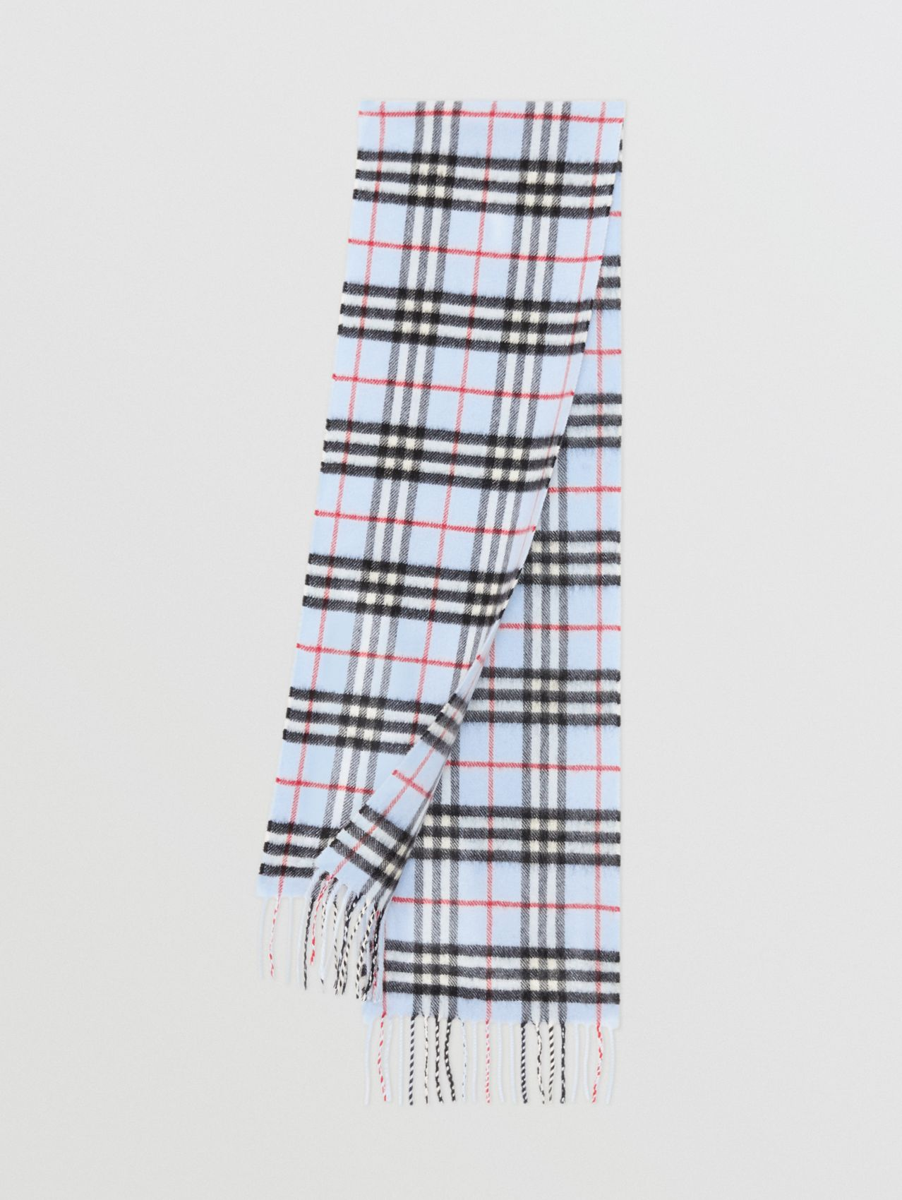 The Mini Classic Vintage Check Cashmere Scarf in Pale Blue