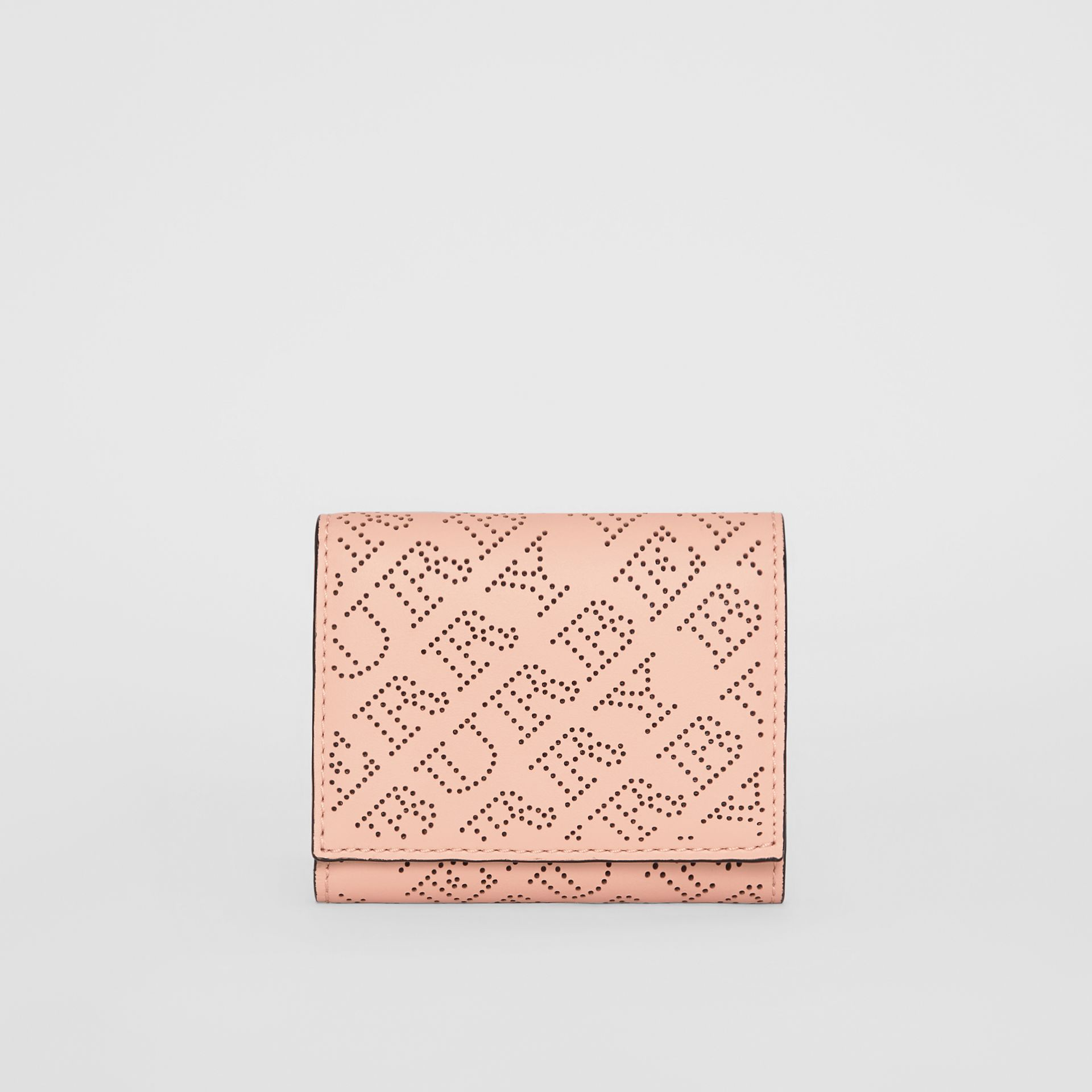 Small Perforated Logo Leather Wallet in Pale Fawn Pink - Women | Burberry - gallery image 5