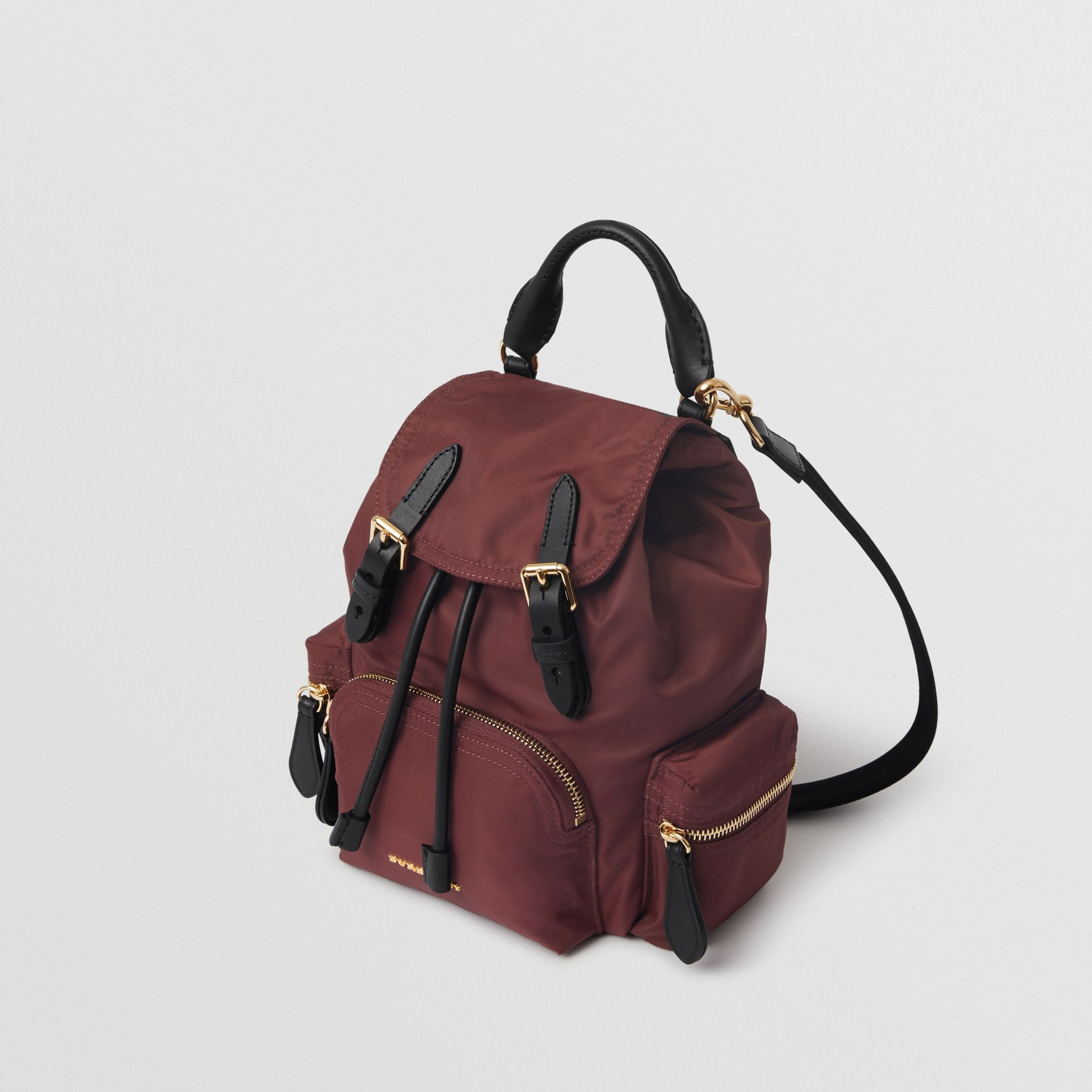 The Small Crossbody Rucksack in Nylon in Burgundy Red - Women | Burberry Hong Kong - gallery image 4