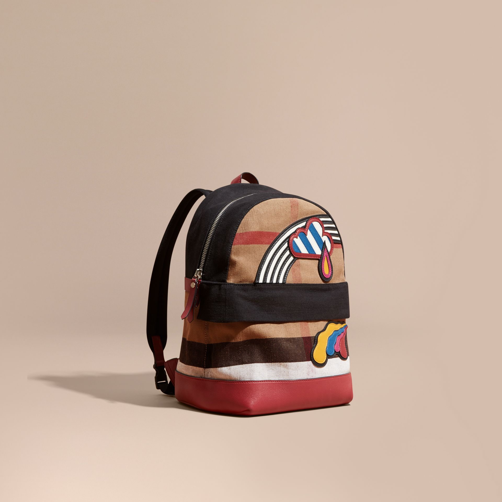 Parade red Appliquéd Weather Graphic Check and Leather Backpack - gallery image 1