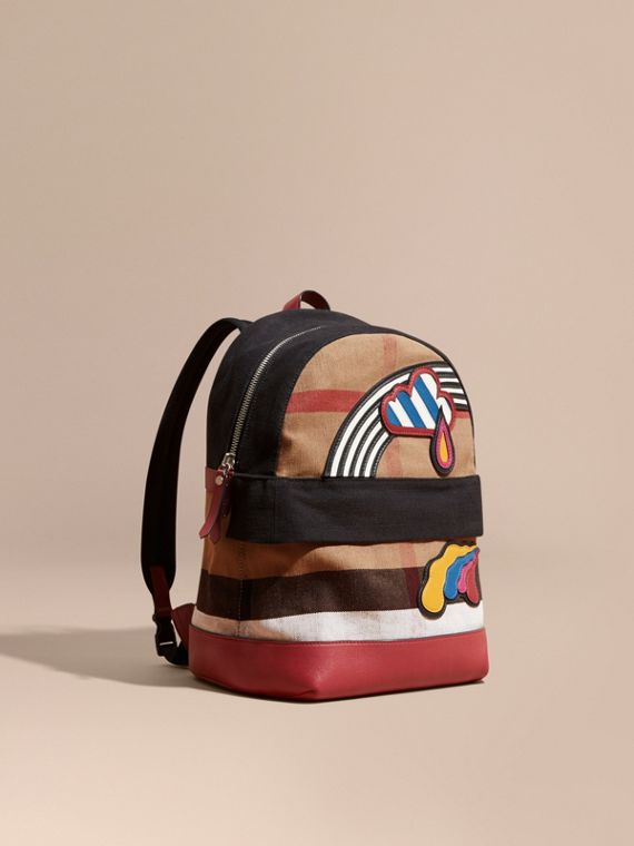 Appliquéd Weather Graphic Check and Leather Backpack