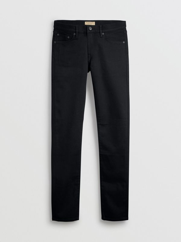 Jean denim extensible de coupe étroite (Noir) - Homme | Burberry - cell image 3