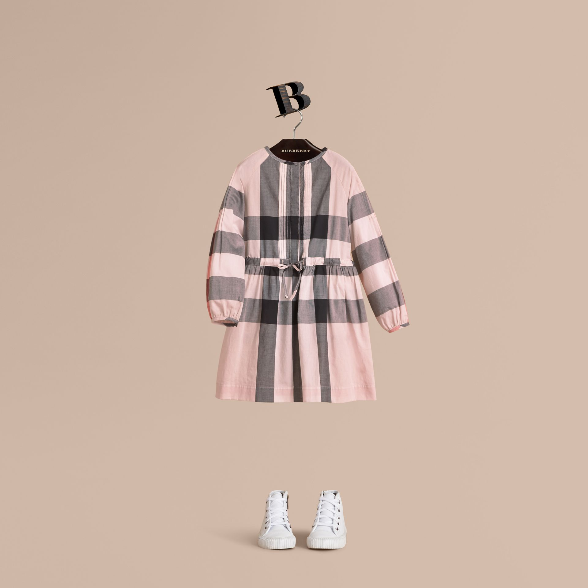 Collarless Check Drawcord Cotton Voile Dress in Vintage Pink - Girl | Burberry - gallery image 1