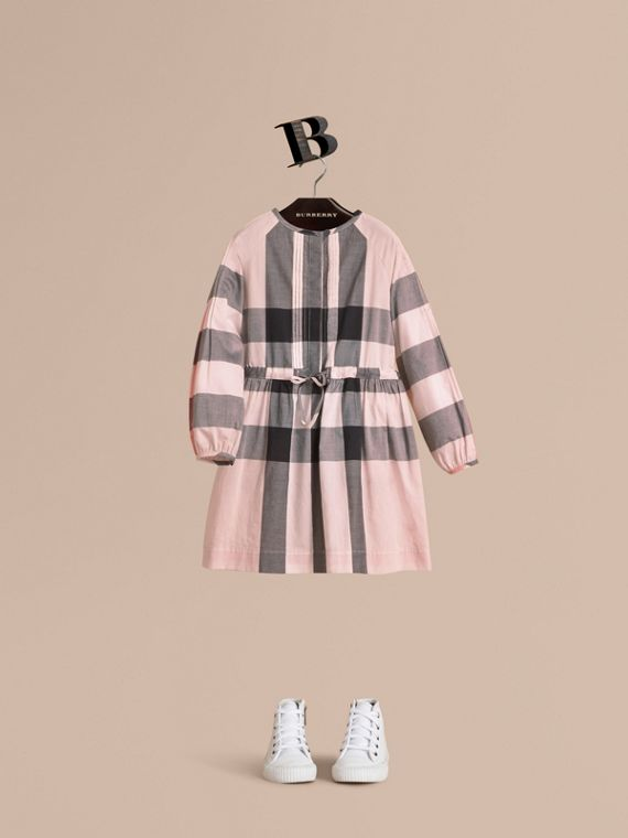 Collarless Check Drawcord Cotton Voile Dress in Vintage Pink - Girl | Burberry