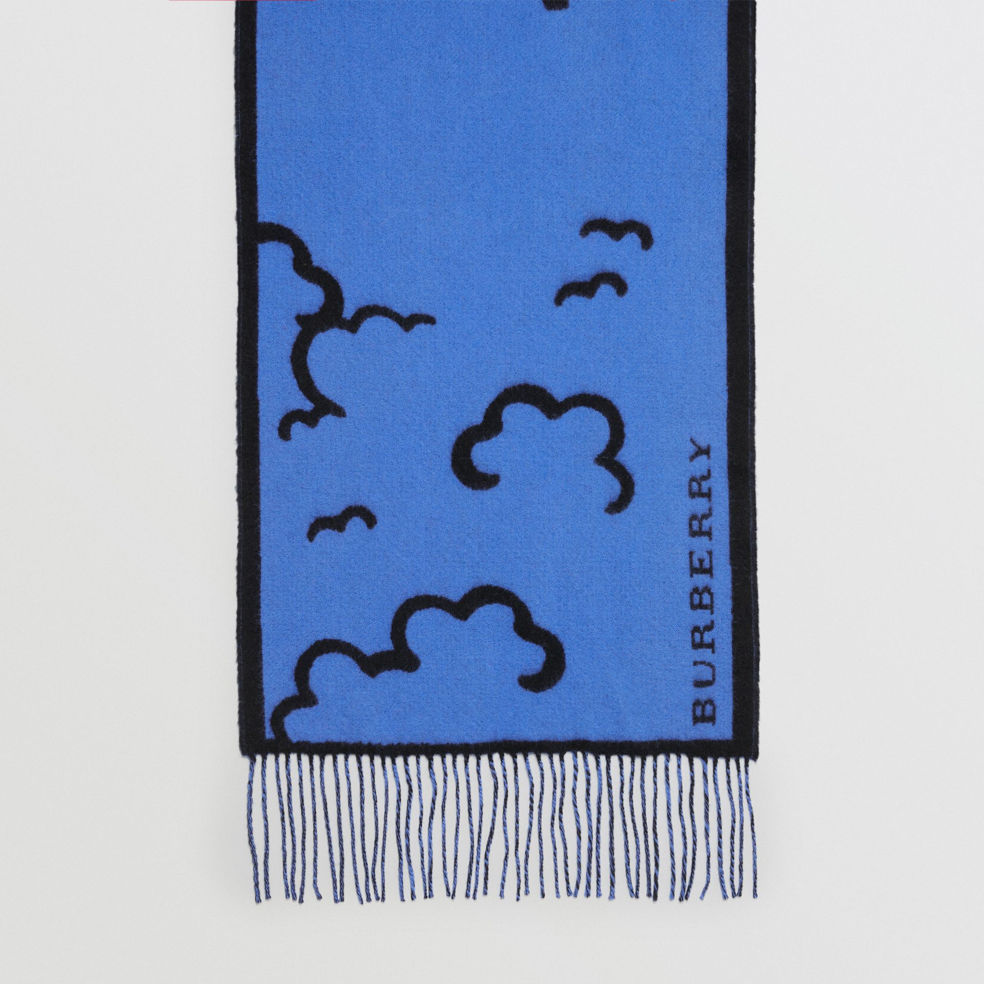 London Street Art Wool Cashmere Jacquard Scarf in Indigo Blue | Burberry - gallery image 3