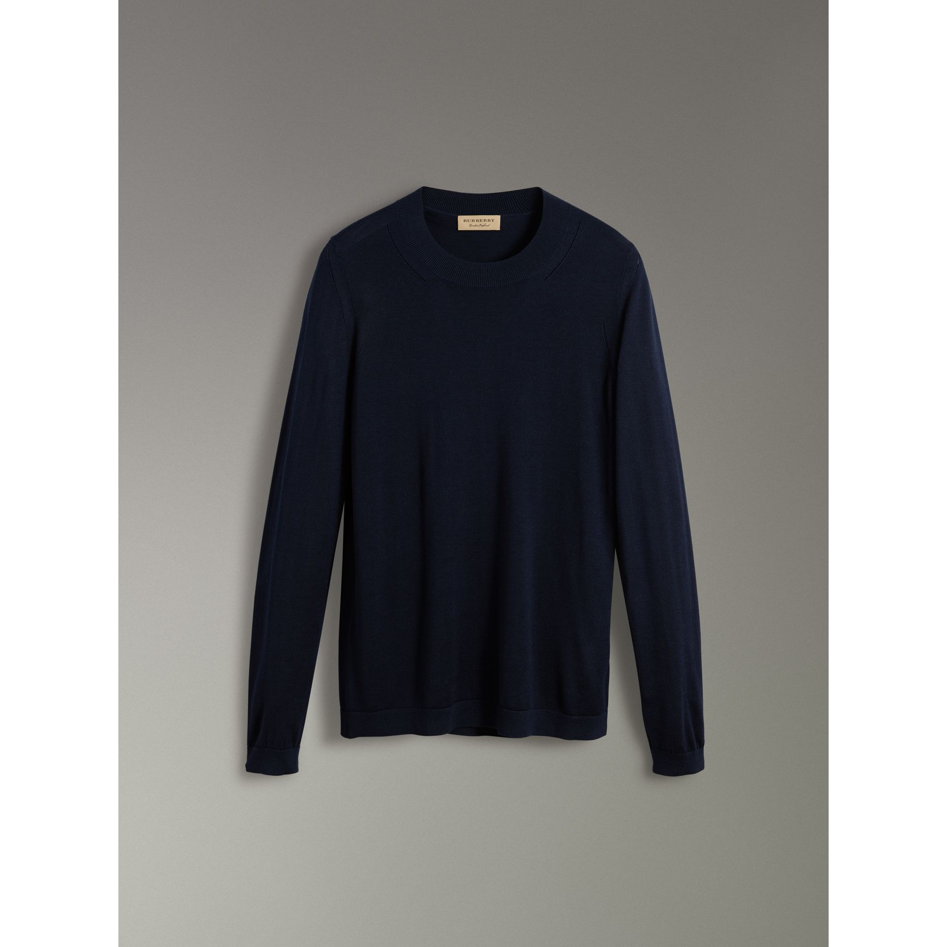 Silk Cashmere Sweater in Navy - Women | Burberry - gallery image 3