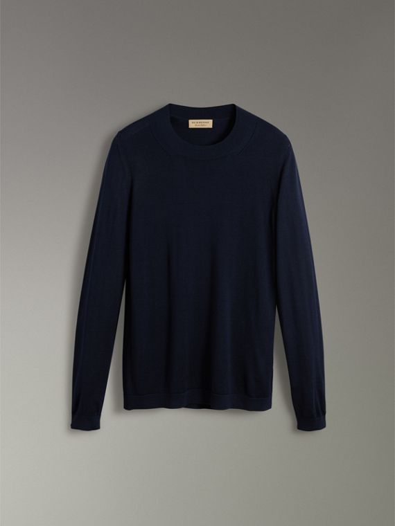 Silk Cashmere Sweater in Navy - Women | Burberry Singapore - cell image 3