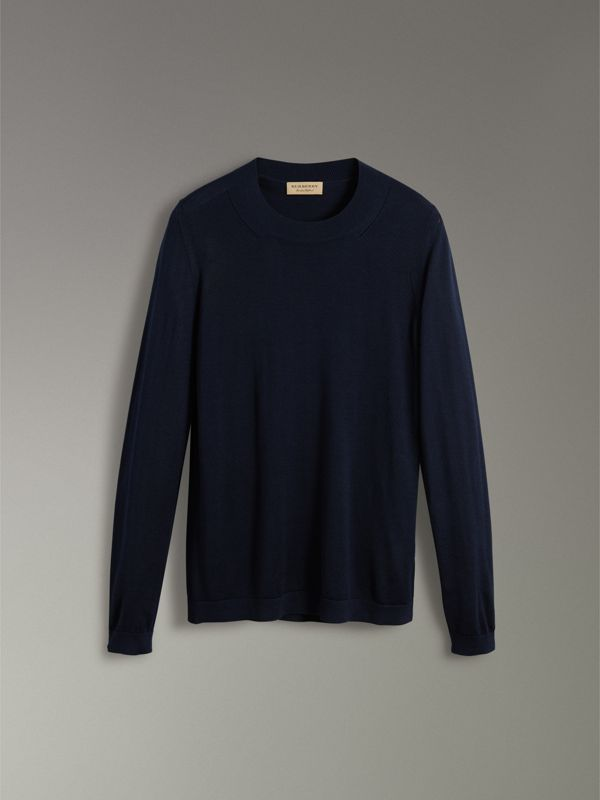Silk Cashmere Sweater in Navy - Women | Burberry Hong Kong - cell image 3