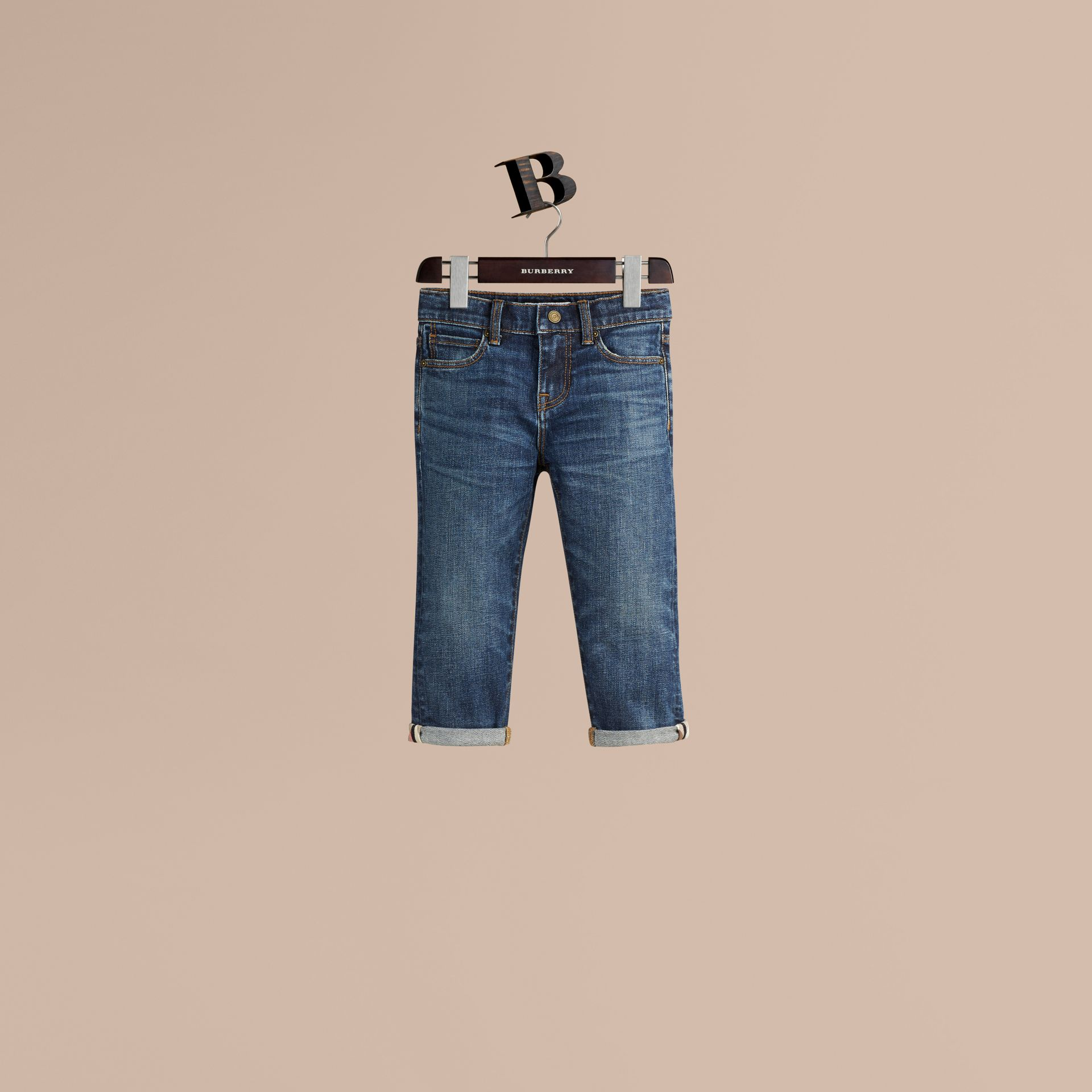 Relaxed Fit Jeans with Check Detail Cuffs in Indigo - Girl | Burberry - gallery image 1