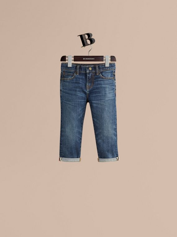 Relaxed Fit Jeans with Check Detail Cuffs - Girl | Burberry Singapore