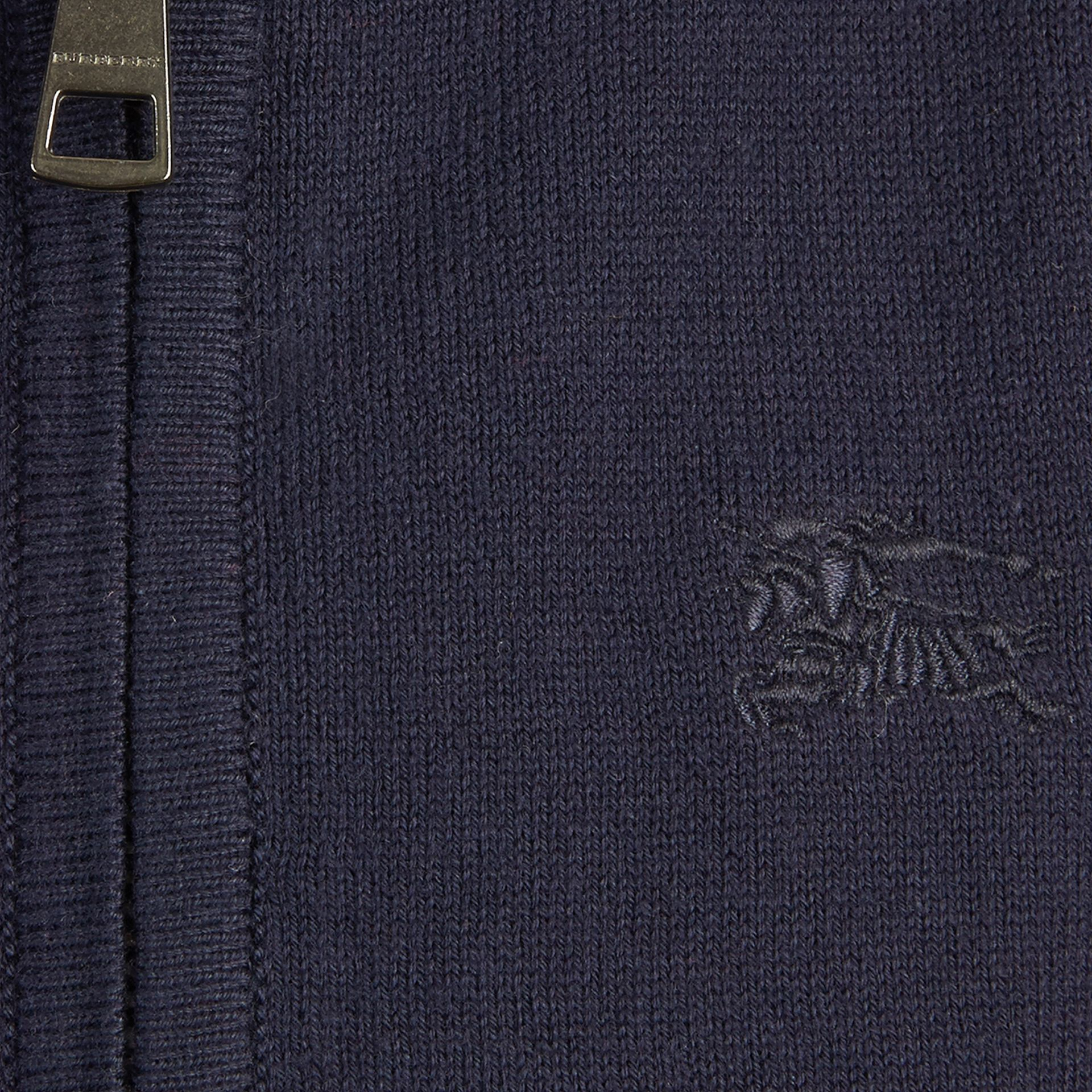 Check Elbow Patch Bomber Cardigan Navy - gallery image 2