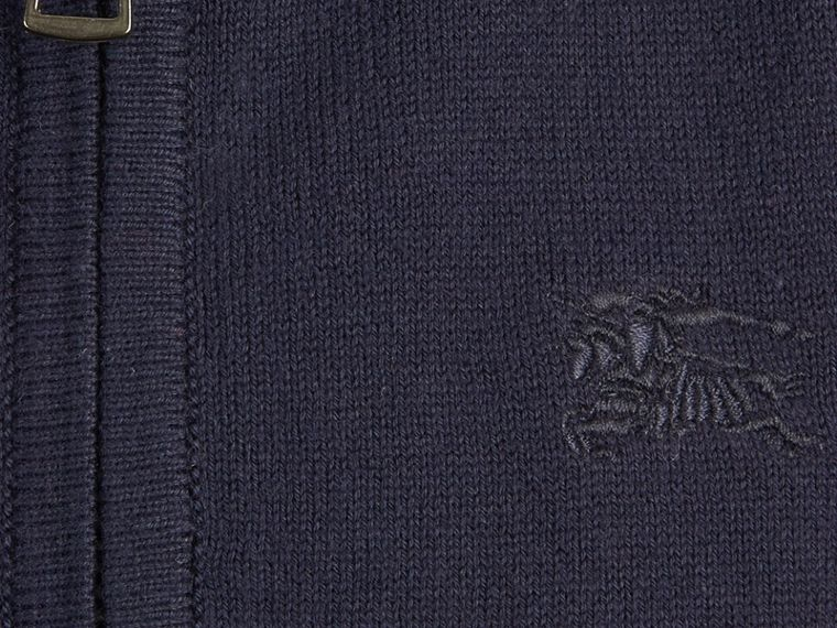 Check Elbow Patch Bomber Cardigan Navy - cell image 1
