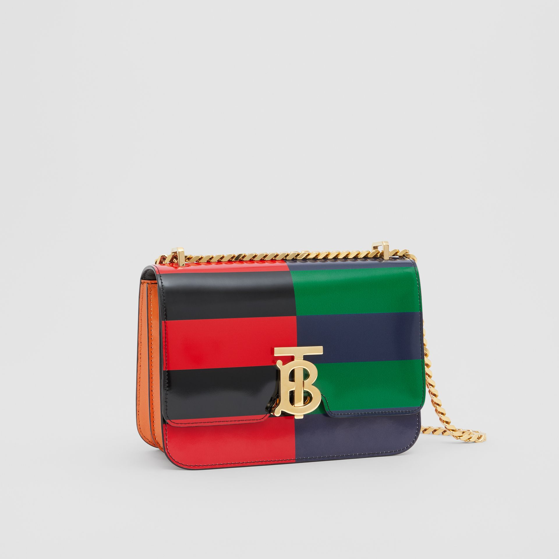 Small Striped Leather TB Bag in Black - Women | Burberry - gallery image 6