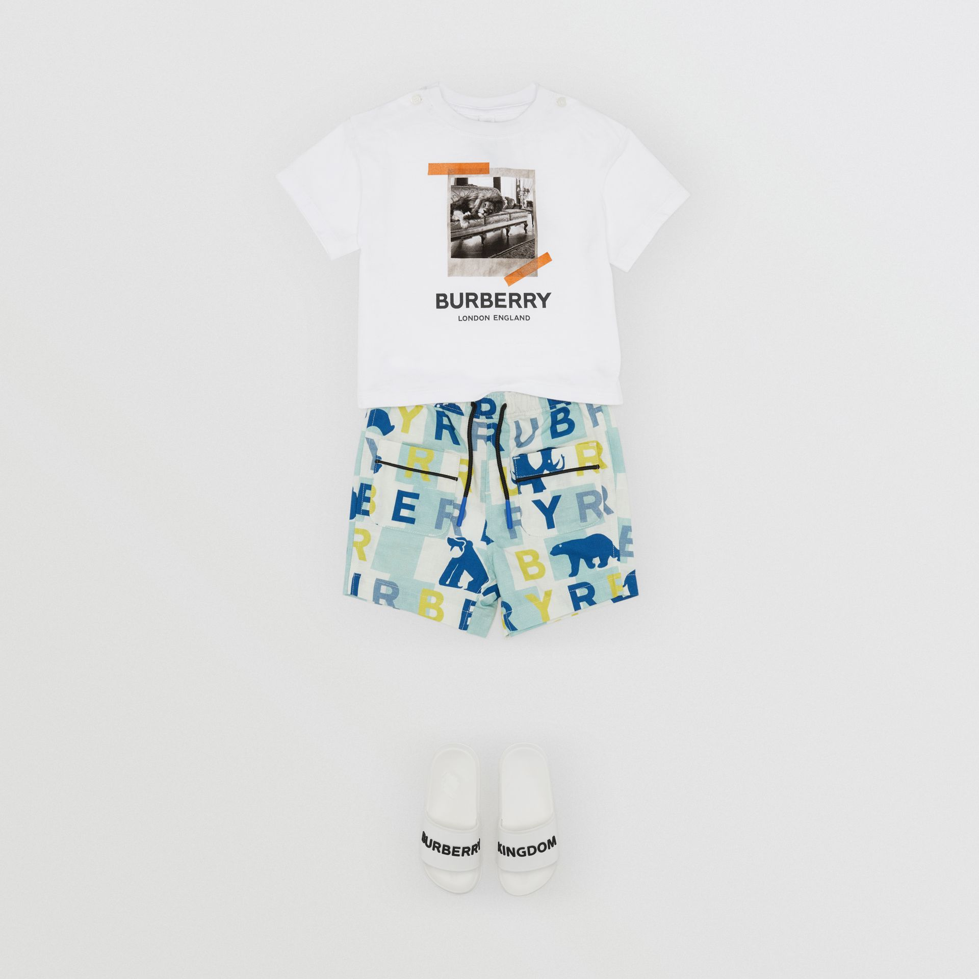 Vintage Polaroid Print Cotton T-shirt in White - Children | Burberry Australia - gallery image 3