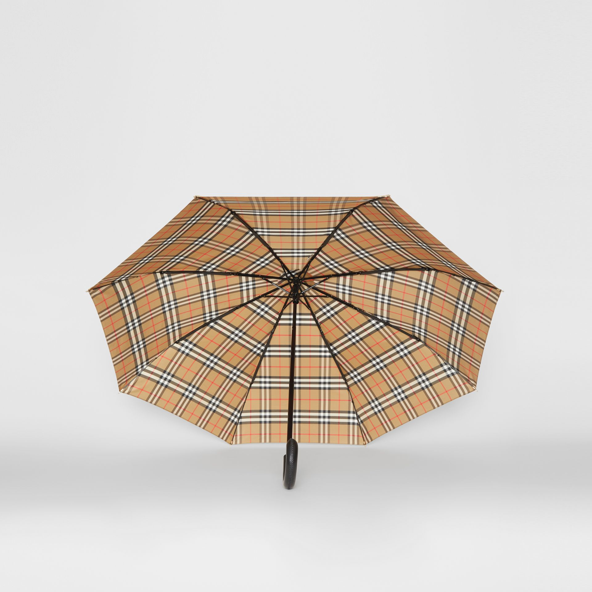 Vintage Check Folding Umbrella in Antique Yellow/black | Burberry Australia - gallery image 4