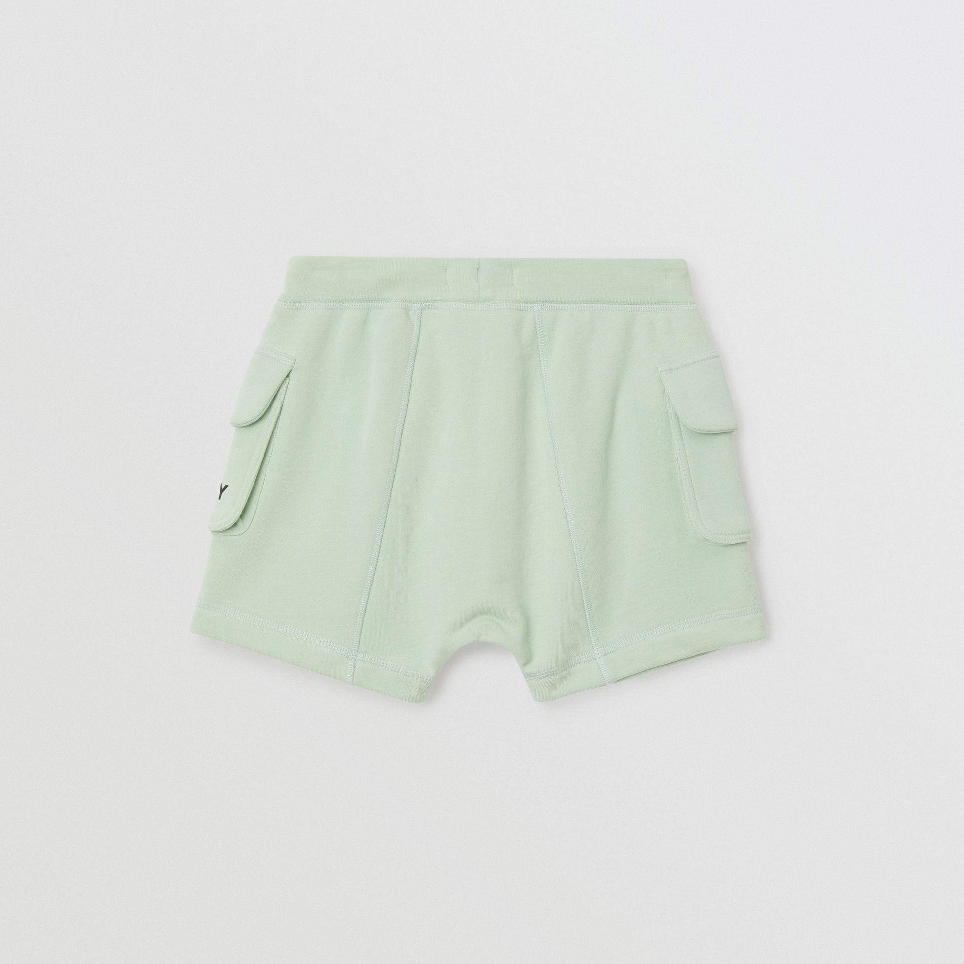 Logo Print Cotton Drawcord Shorts in Pale Mint | Burberry Singapore - gallery image 3
