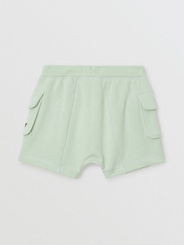 Logo Print Cotton Drawcord Shorts in Pale Mint | Burberry Singapore - cell image 3