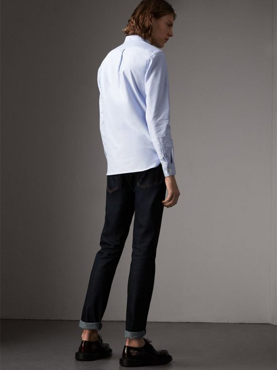 Check Detail Cotton Oxford Shirt in Cornflower Blue - Men | Burberry - cell image 2