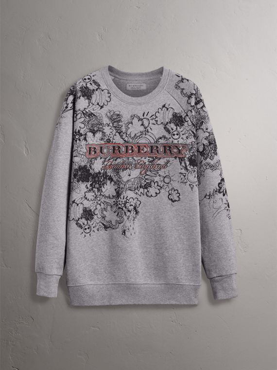 Doodle Print Jersey Sweatshirt in Pale Grey Melange - Women | Burberry Australia - cell image 3