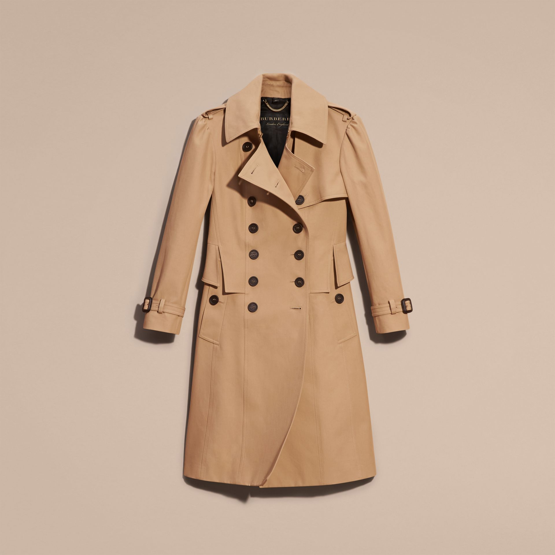 Honey Cotton Gabardine Trench Coat with Notched Waist - gallery image 4