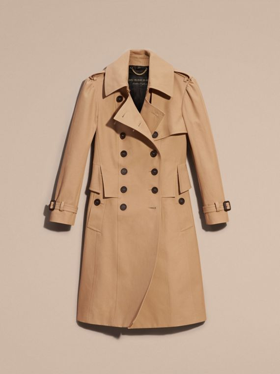 Honey Cotton Gabardine Trench Coat with Notched Waist - cell image 3