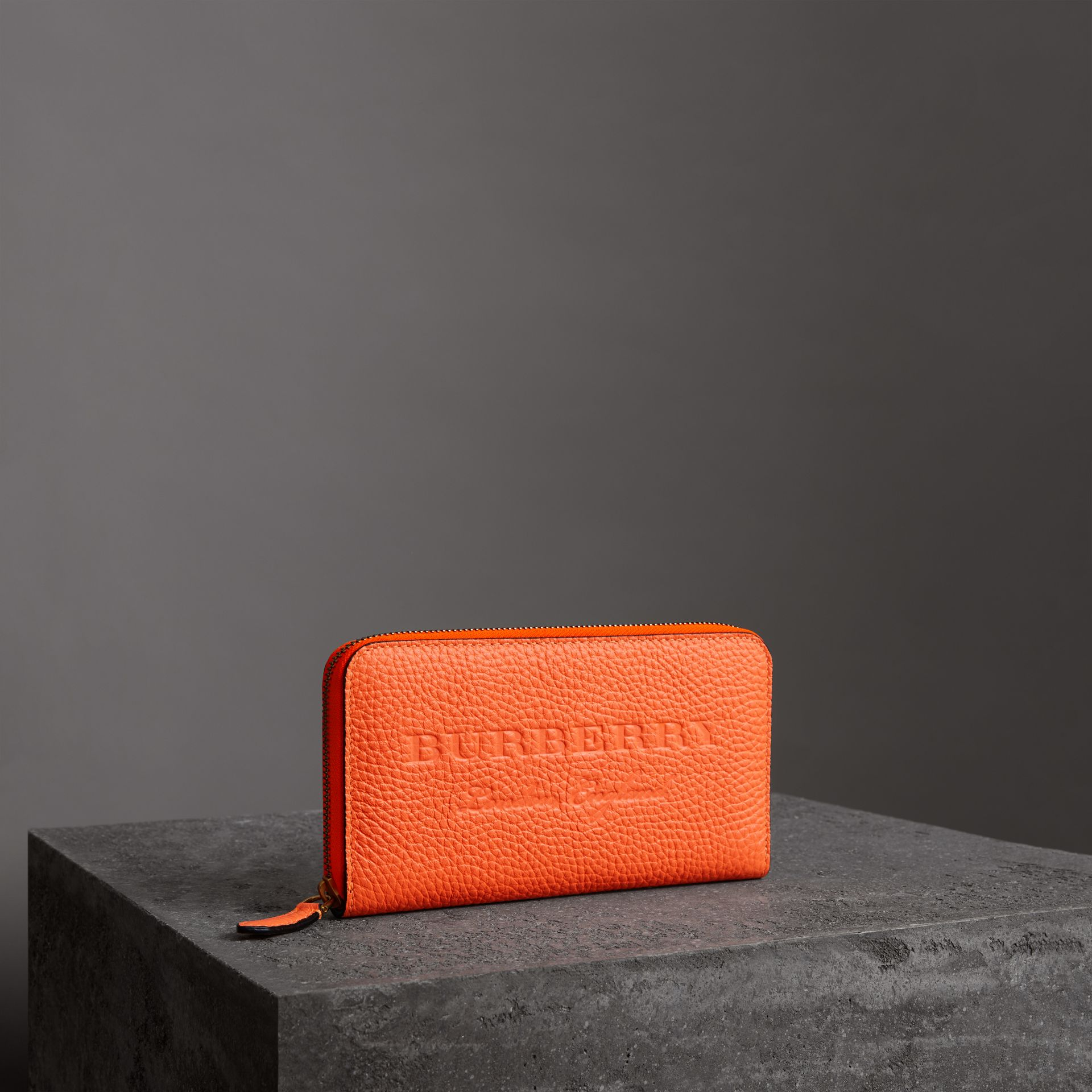 Embossed Leather Ziparound Wallet in Bright Orange - Women | Burberry - gallery image 0