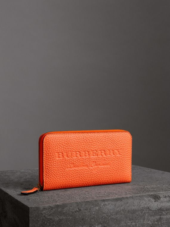 Embossed Leather Ziparound Wallet in Bright Orange