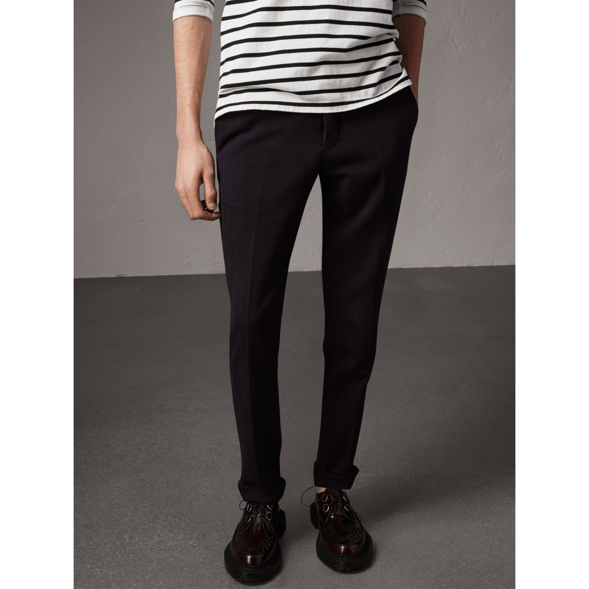 Herringbone Cotton Blend Tailored Trousers in Navy - Men | Burberry - gallery image 4