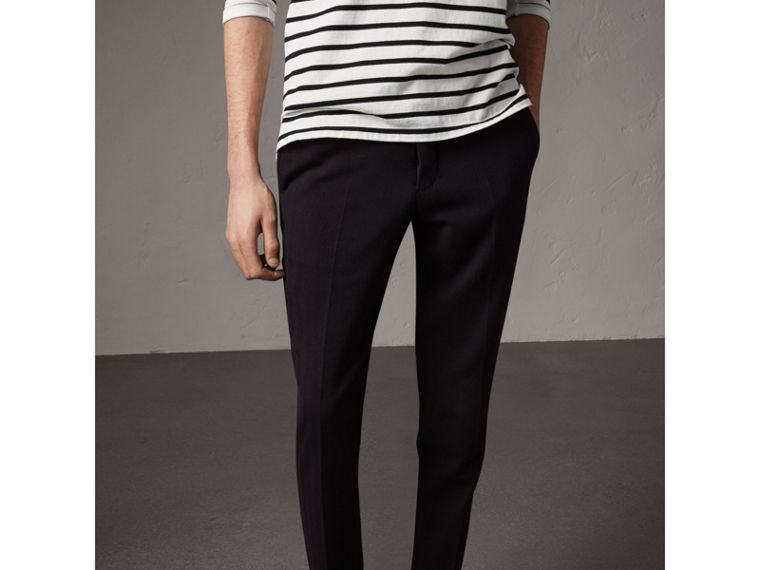 Herringbone Cotton Blend Tailored Trousers in Navy - Men | Burberry Hong Kong - cell image 4