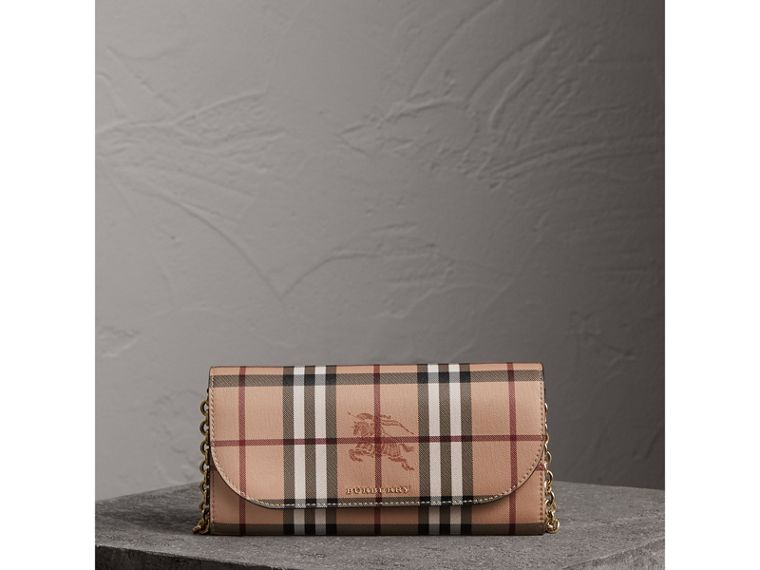 Leather Trim Haymarket Check Wallet with Chain in Black - Women | Burberry - cell image 4