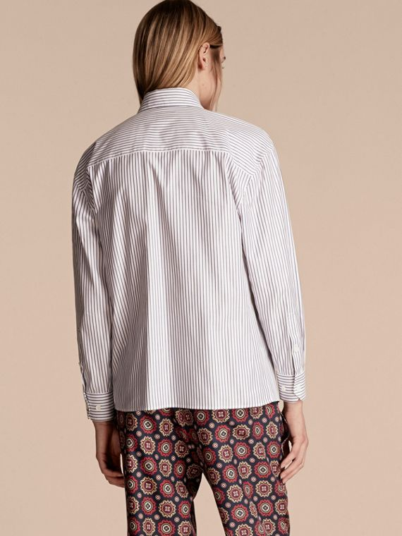 Pinstriped Cotton Shirt with Ruffles - cell image 2