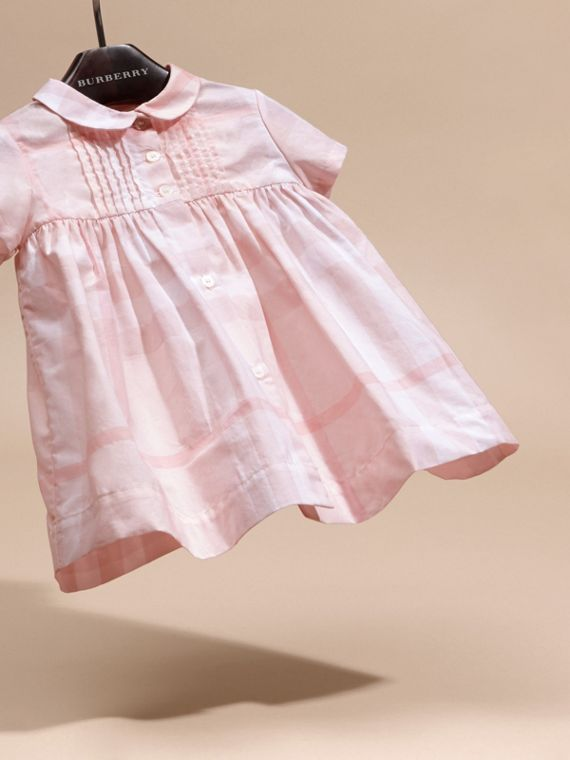 Ice pink Check Cotton Pin Pleat Dress and Bloomers - cell image 2