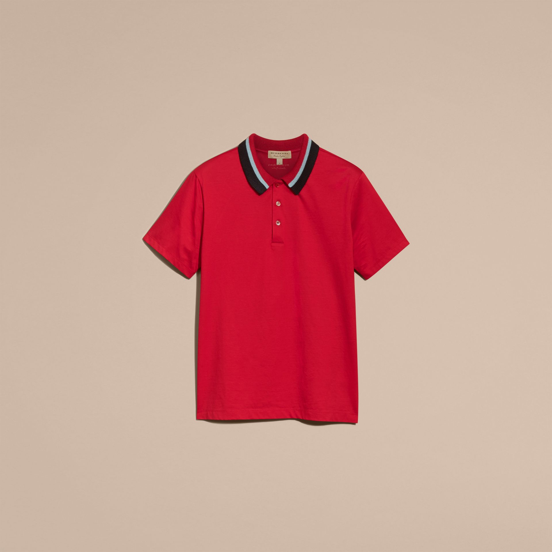 Cotton Polo Shirt with Knitted Collar Military Red - gallery image 4