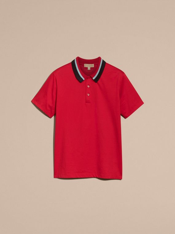 Cotton Polo Shirt with Knitted Collar Military Red - cell image 3