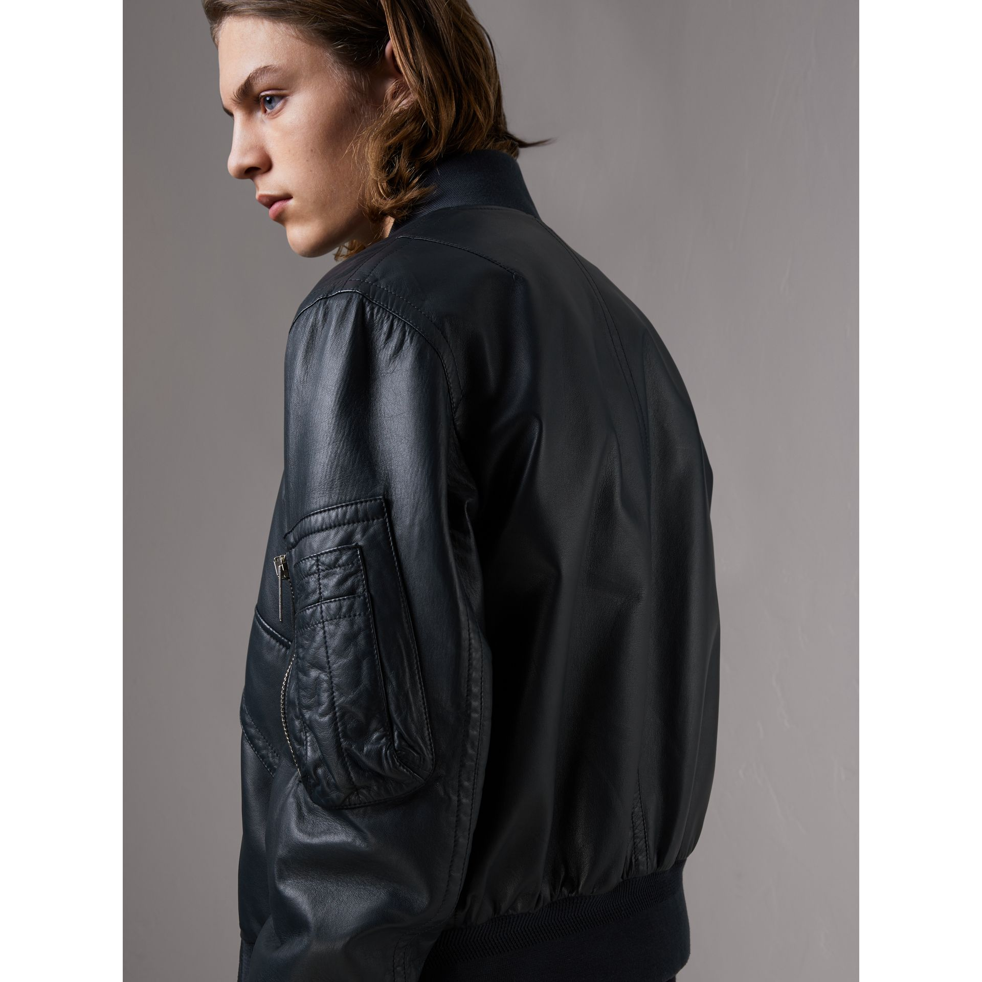 Lambskin Bomber Jacket in Navy - Men | Burberry United Kingdom - gallery image 2