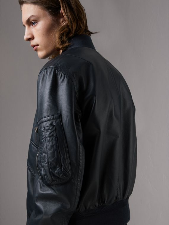 Lambskin Bomber Jacket in Navy - Men | Burberry - cell image 2
