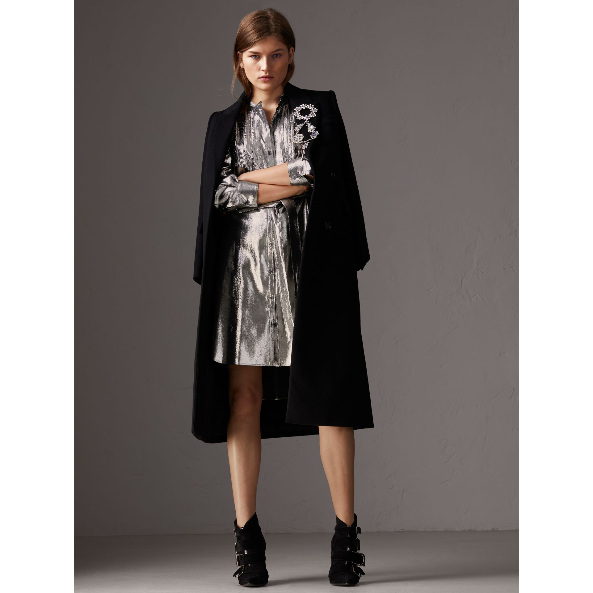 Pintuck Detail Silk Lamé Shirt Dress in Silver - Women | Burberry - gallery image 5