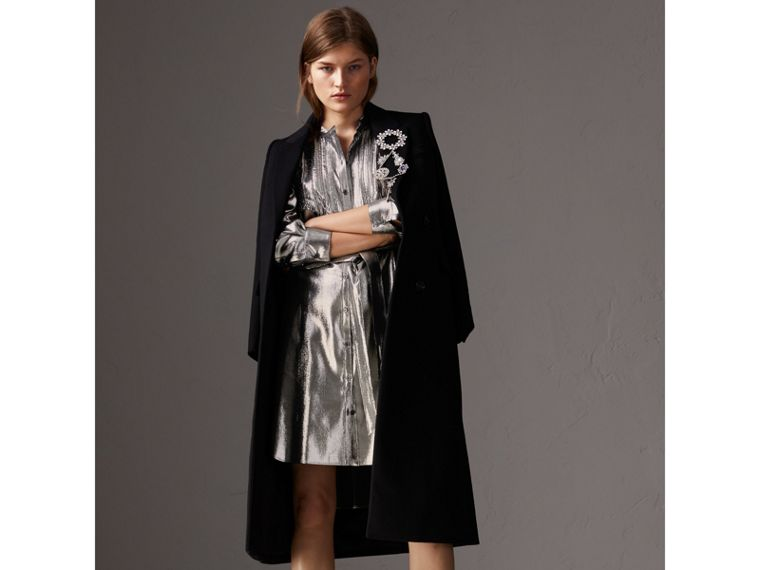 Pintuck Detail Silk Lamé Shirt Dress in Silver - Women | Burberry - cell image 4